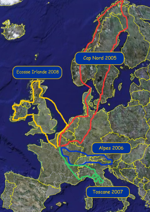 Carte d'Europe : les voyages Track and Road